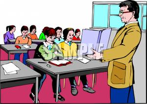 teacher and students in a classroom clip art.