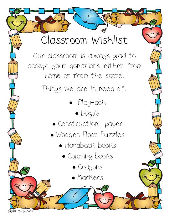 Classroom Wishlist.