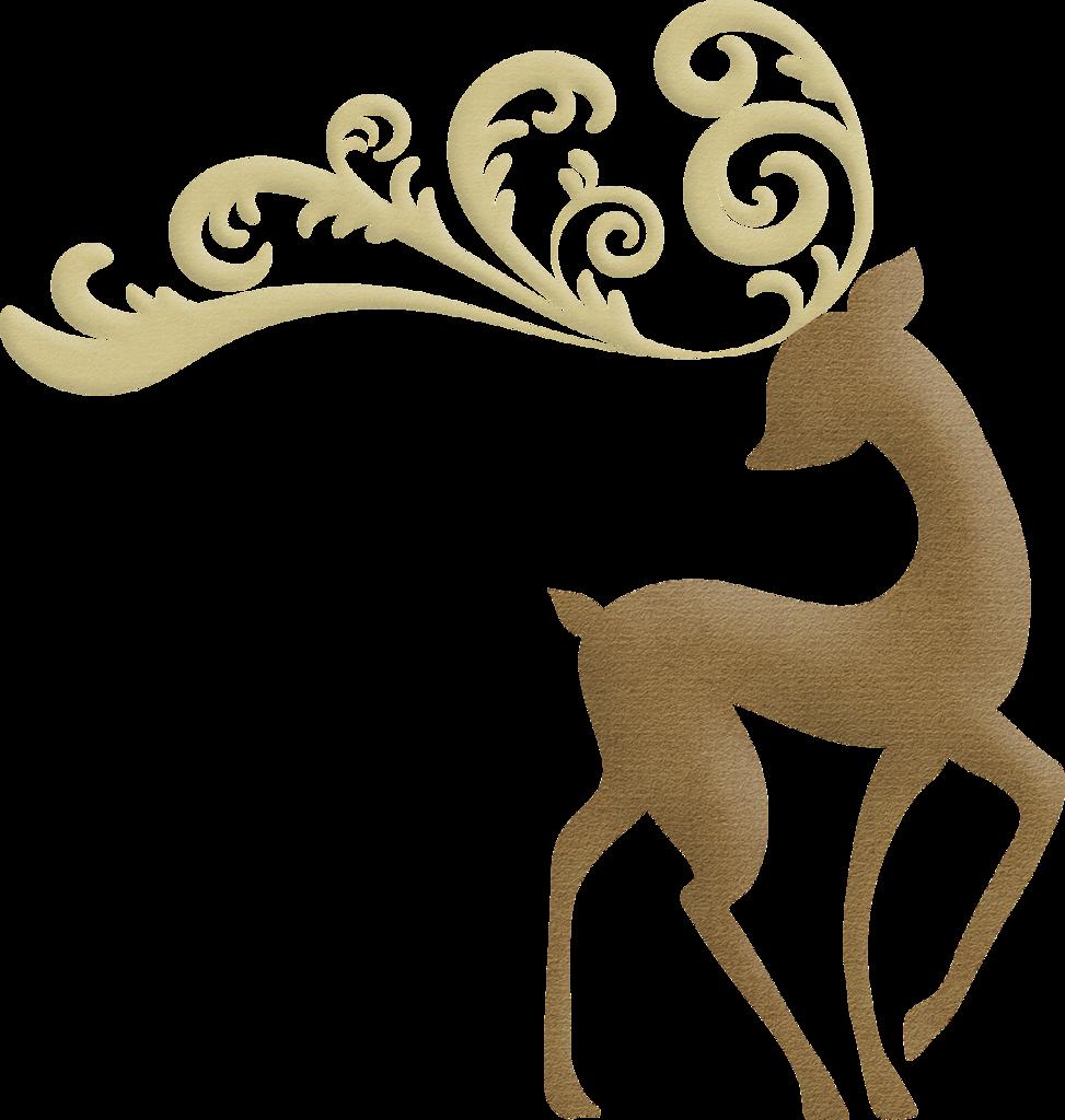 Christmas Elegant Reindeer Clip Art.