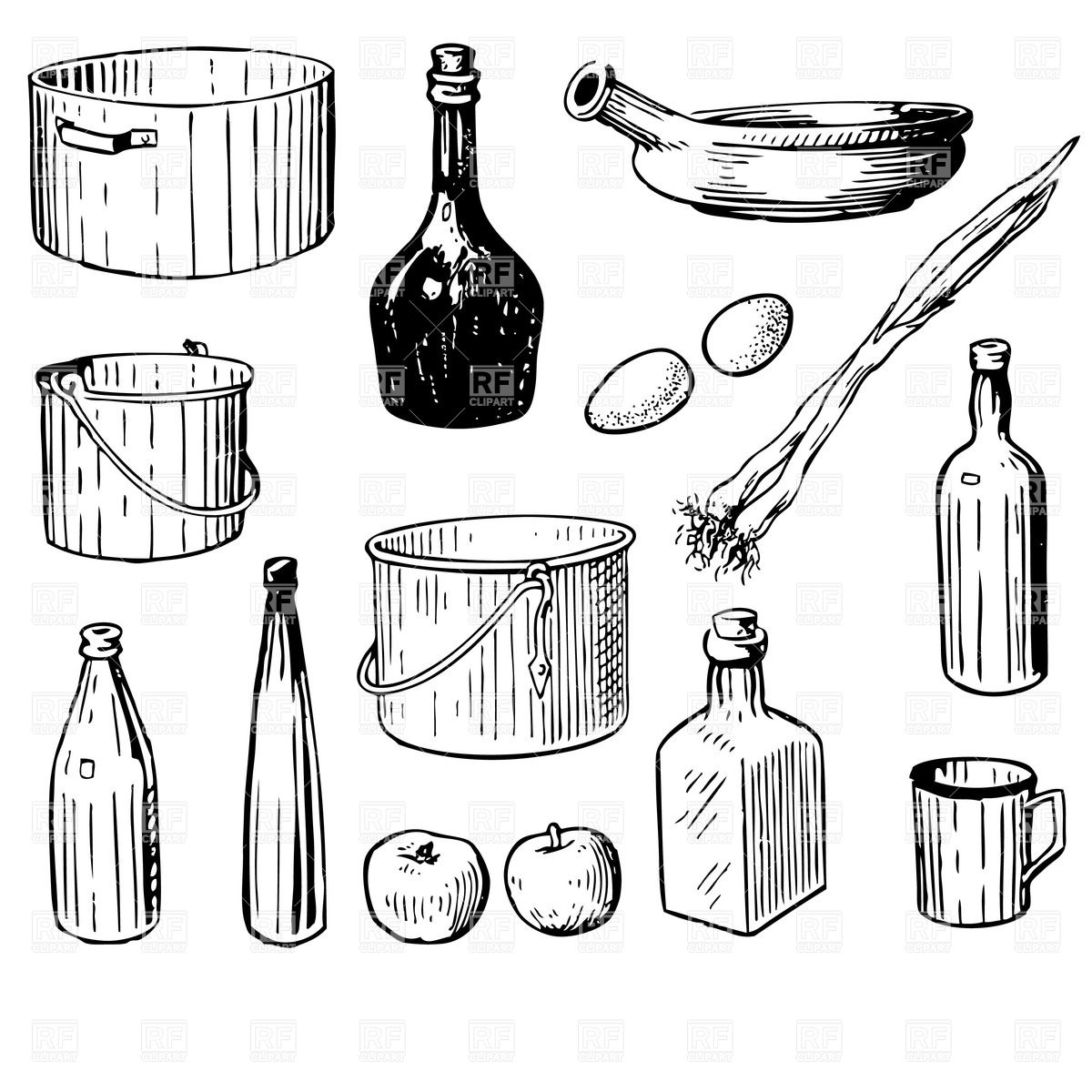 Vintage Kitchen Food Clipart Lineart.