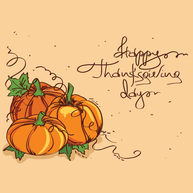 Free vector Pumpkin clip art on Happy Thanksgiving Day Card 28 in.
