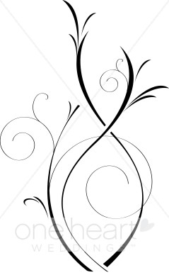 Elegant Black and White Vine Clip Art.