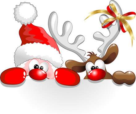 Winter christmas santa claus reindeer clipart free vector download.