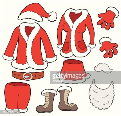 Santa Clauses clothes collection Clipart Image.