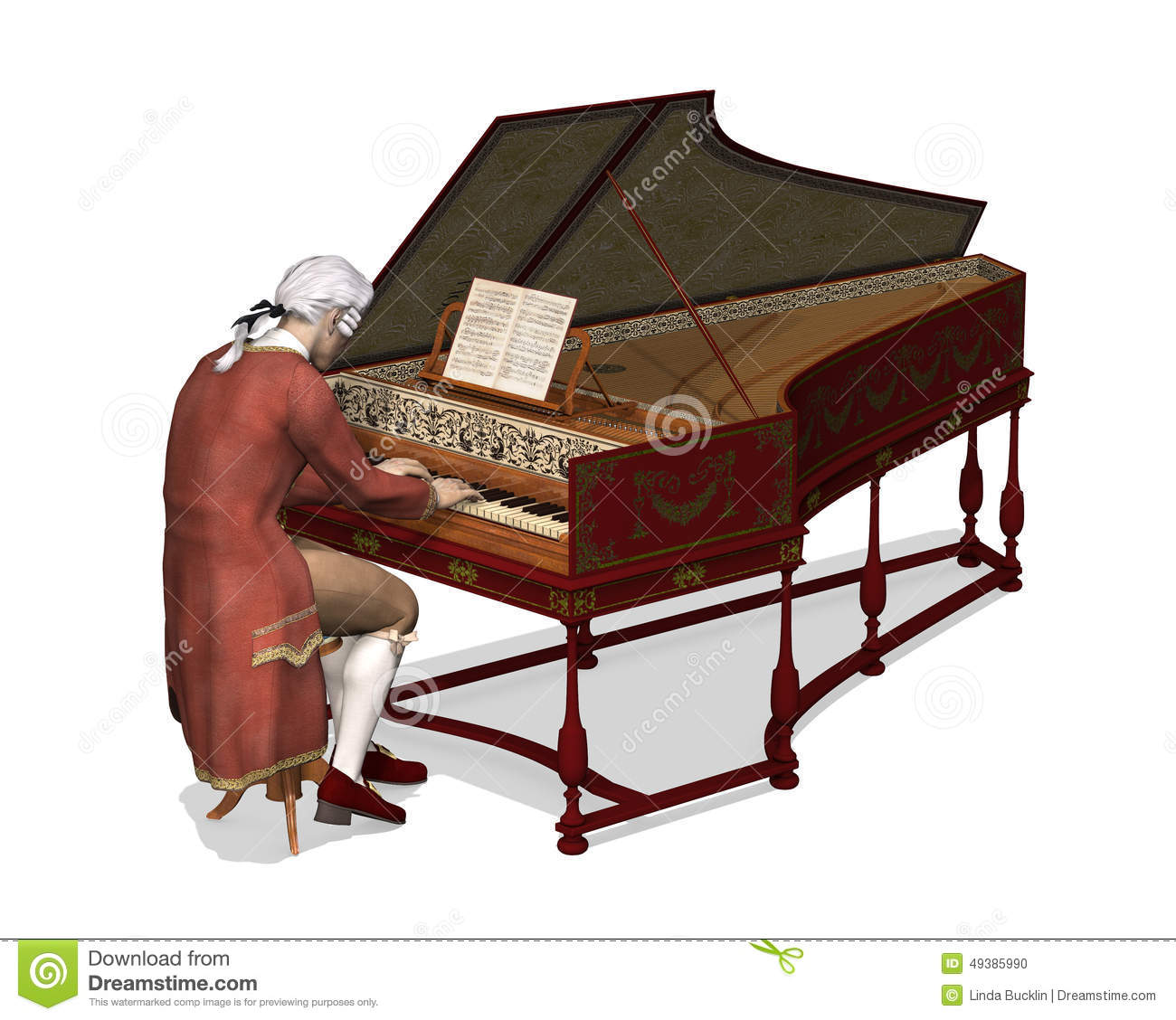 Harpsichord Stock Illustrations.