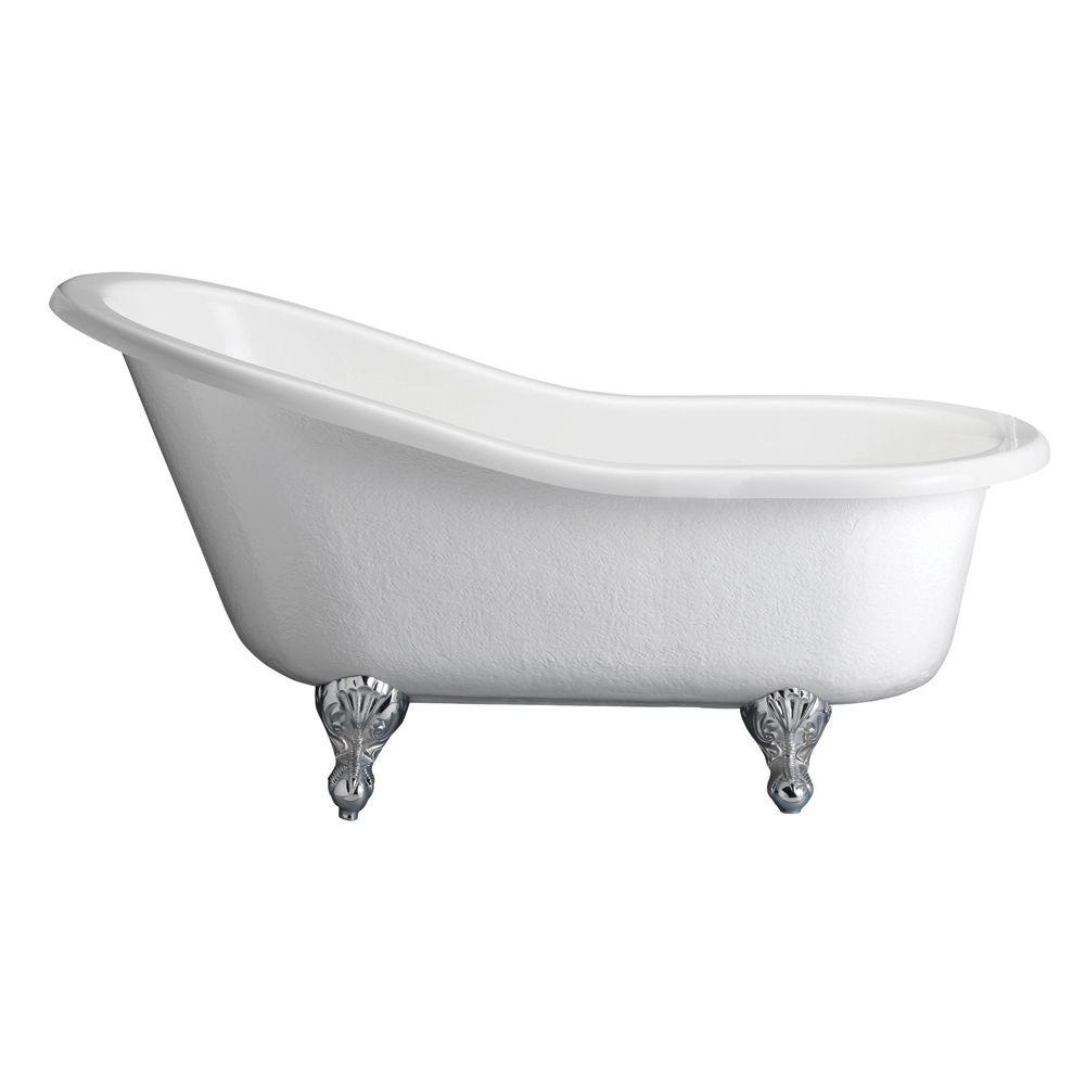 Barclay Products 5.6 ft. Acrylic Claw Foot Slipper Tub in White with Black  Feet.