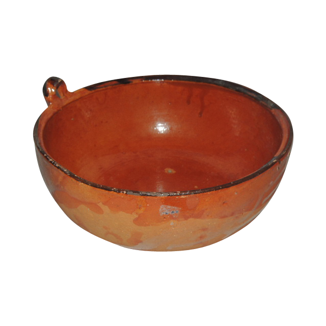 Vintage Folk Art Mexico Hand Painted Red Clay Pottery Bowl from.