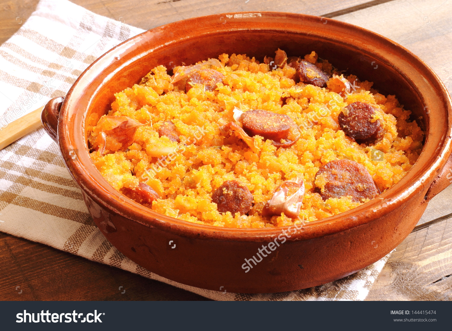 Migas Con Chorizo Traditional Spanish Recipe Stock Photo 144415474.