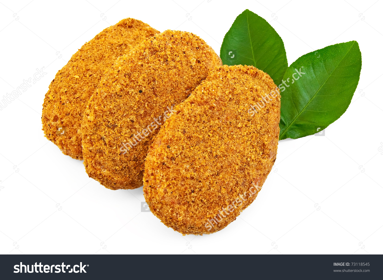 Three Frozen Chicken Cutlets Bread Crumbs Stock Photo 73118545.