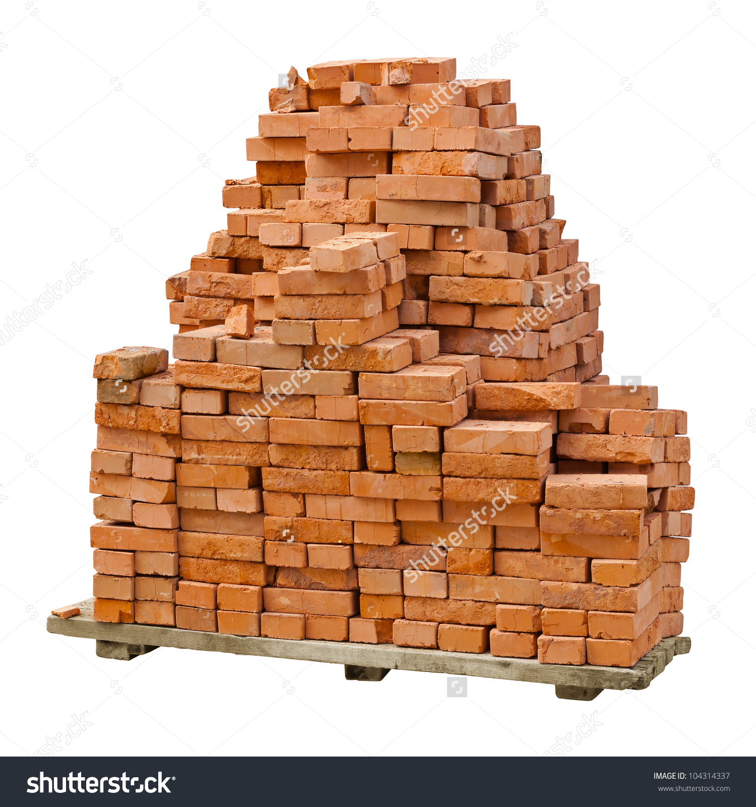 Stack Red Clay Bricks Isolated On Stock Photo 104314337.