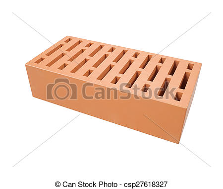 Clip Art of Red clay brick isolated on a white background . 3d.