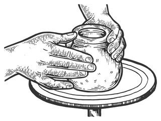 Potter makes pot of clay on potter\'s wheel engraving vector.