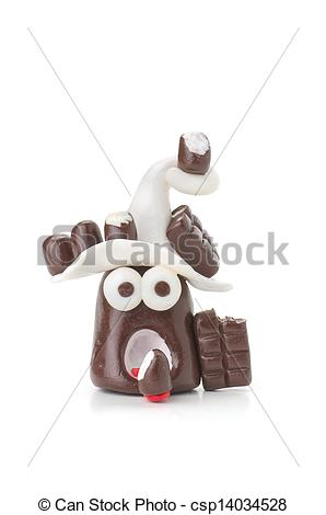 Clip Art of Handmade modeling clay figure with chocolate.