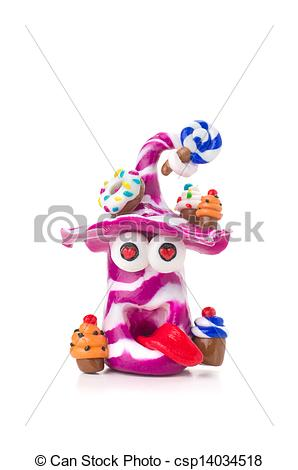 Clipart of Handmade modeling clay figure with sweets csp14034518.