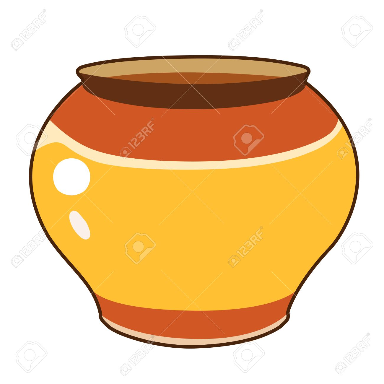 Clay pot isolated illustration on white background.