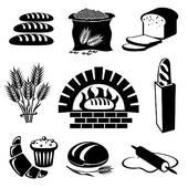 Stock Illustration of oven baked bread b/w szo0357.