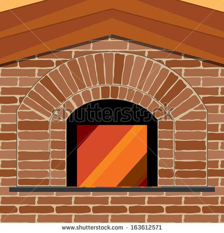 Firewood Pizza Brick Oven Vector Illustration Stock Vector.