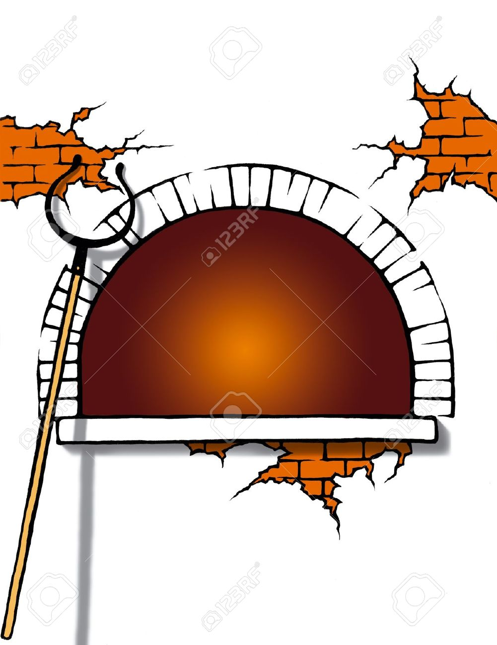Cartoon Illustration Of A Stove With White Background Stock Photo.