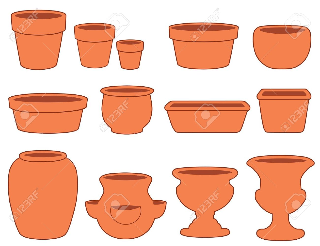 Garden Flowerpots And Pottery Small, Medium And Large Clay Pots.