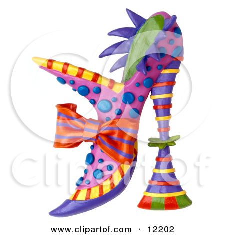 Clay Sculpture Clipart Decorative High Fashion Heel Shoe.