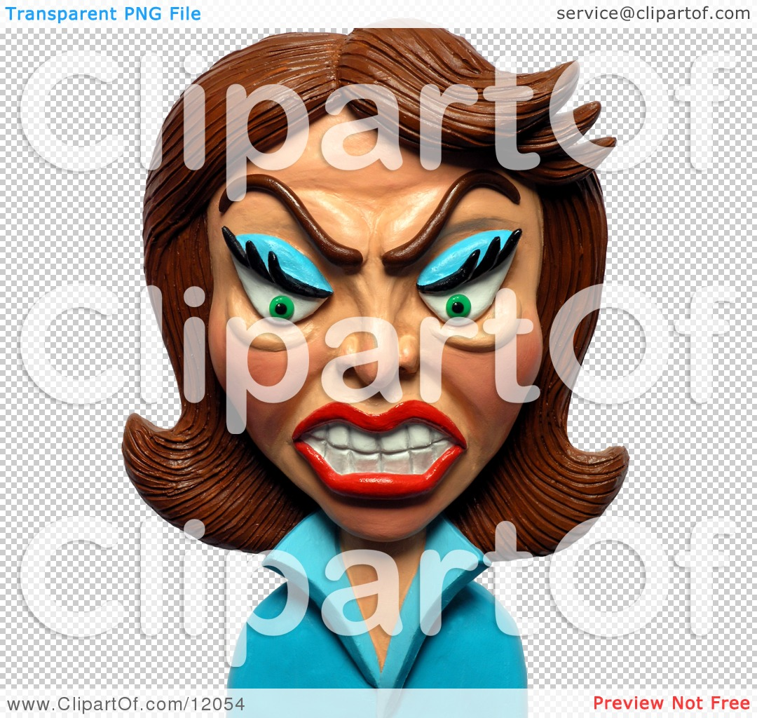 Clay Sculpture Clipart Angry Brunette Woman.