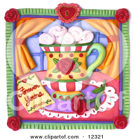 Clay Sculpture Clipart Forever Yours Rose And Coffee Scene.