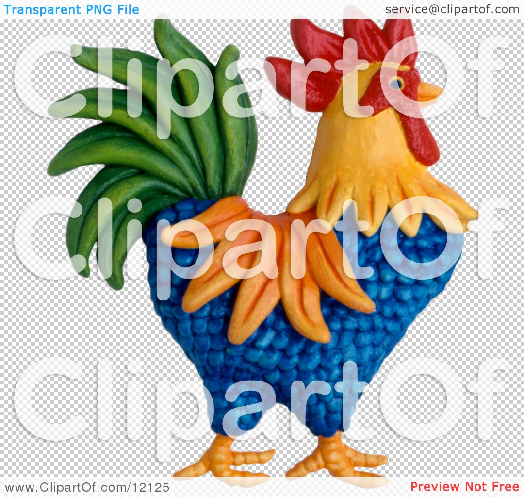 Clay Sculpture Clipart Colorful Rooster.