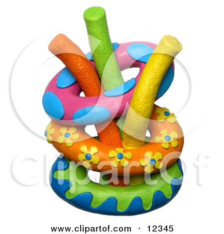 Clay Sculpture Clipart Toys Stacked In A Chest In A Play Room.