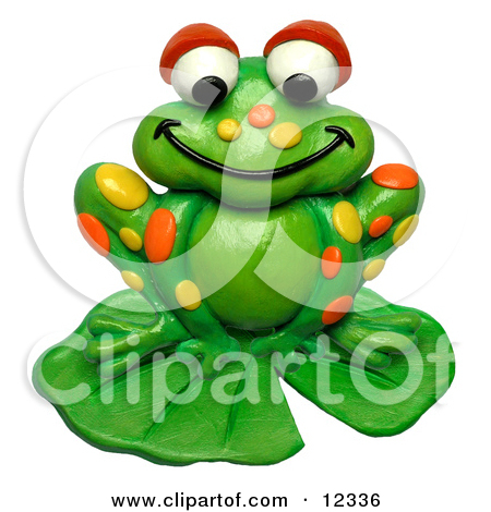 Clay Sculpture Clipart Spotted Frog On A Lily Pad.