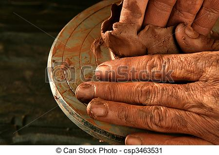 Stock Photography of pottery craftmanship clay pottery hands work.