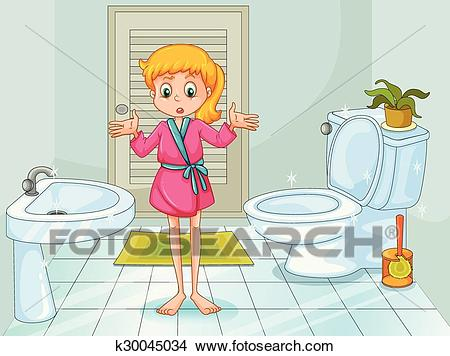 Girl standing in clean bathroom Clipart.