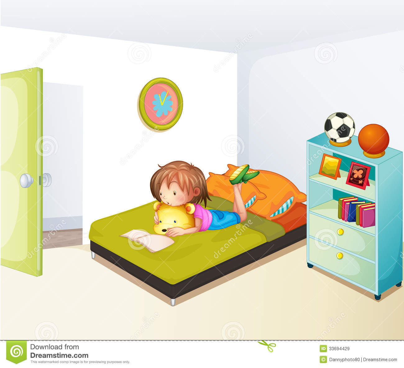 A Girl Studying In Her Clean Bedroom Stock Vector.