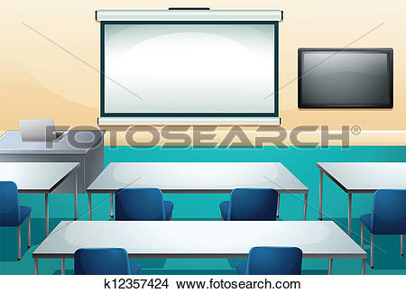 Clipart of Clean and ogranized classroom k12357424.