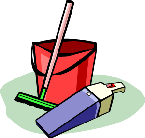 Students Clean Up Room Clipart.