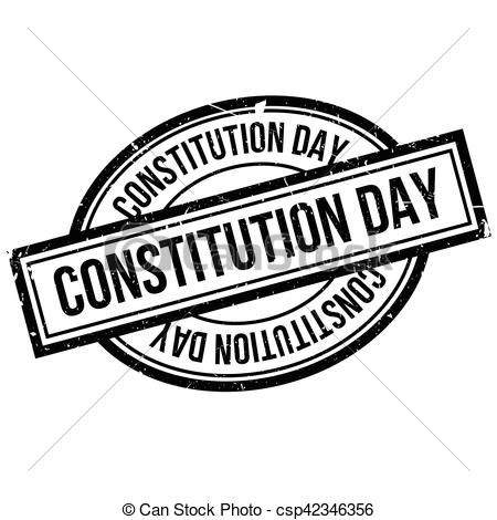 Clipart Vector of Constitution Day rubber stamp. Grunge design.