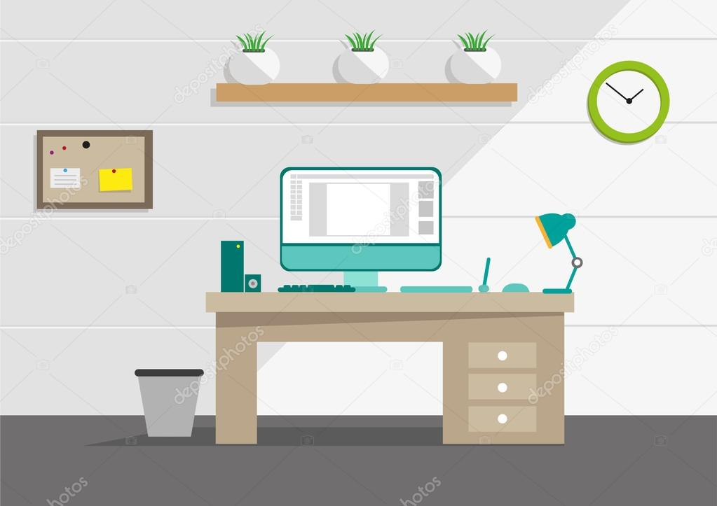 Clipart: tidy desk.