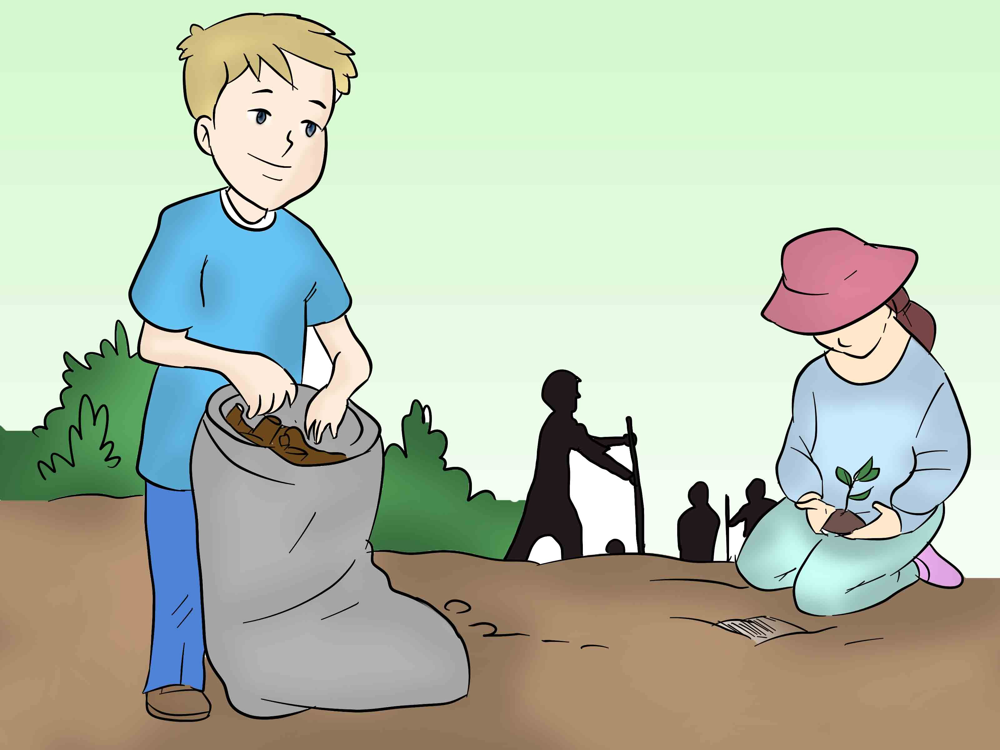 Children cleaning environment clipart.
