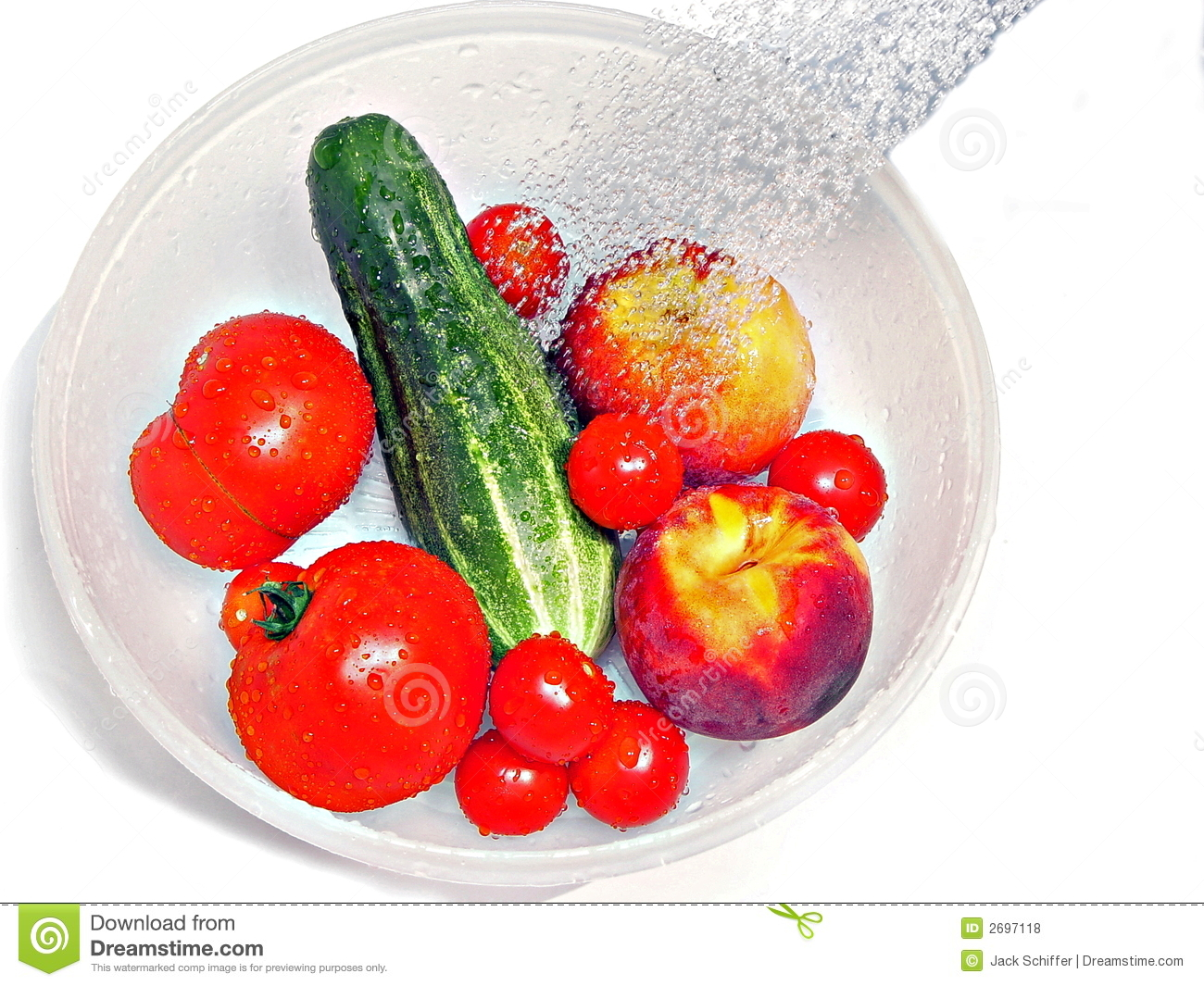 Washing fruits and vegetables clipart.
