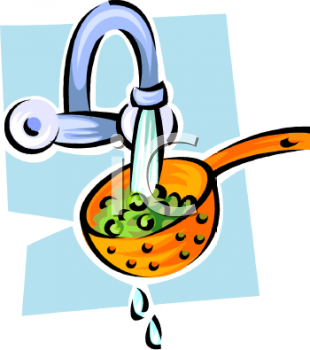 Washing vegetables clipart.