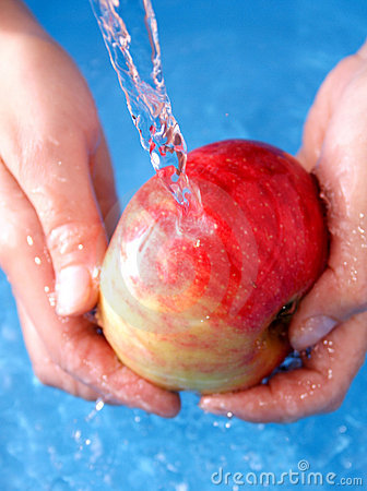 Apple Water Washing Royalty Free Stock Photography.