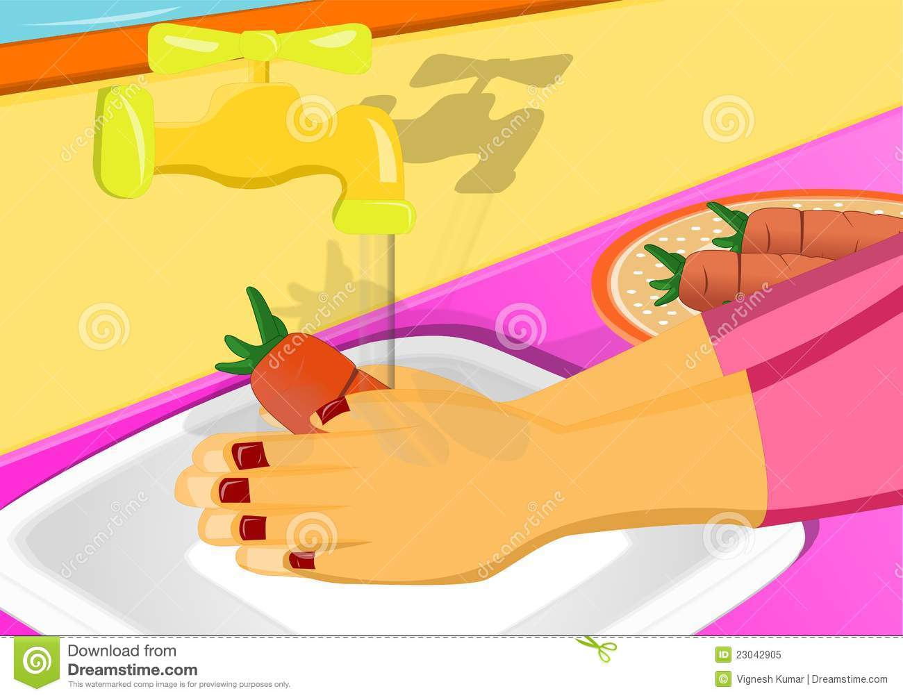 Man Washing Fruit Kitchen Stock Illustrations.