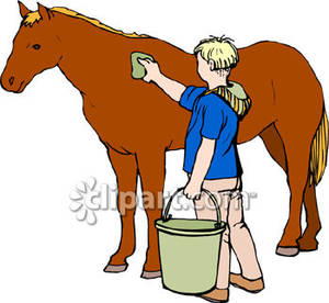 Man Washing His Horse.