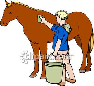 Man Washing His Horse.
