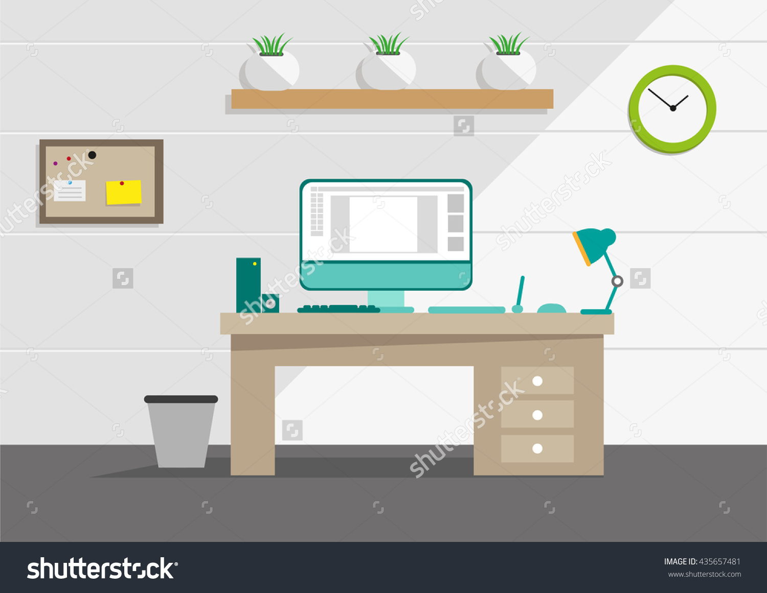 Clean Interior Office Concept Computer Household Stock Vector.