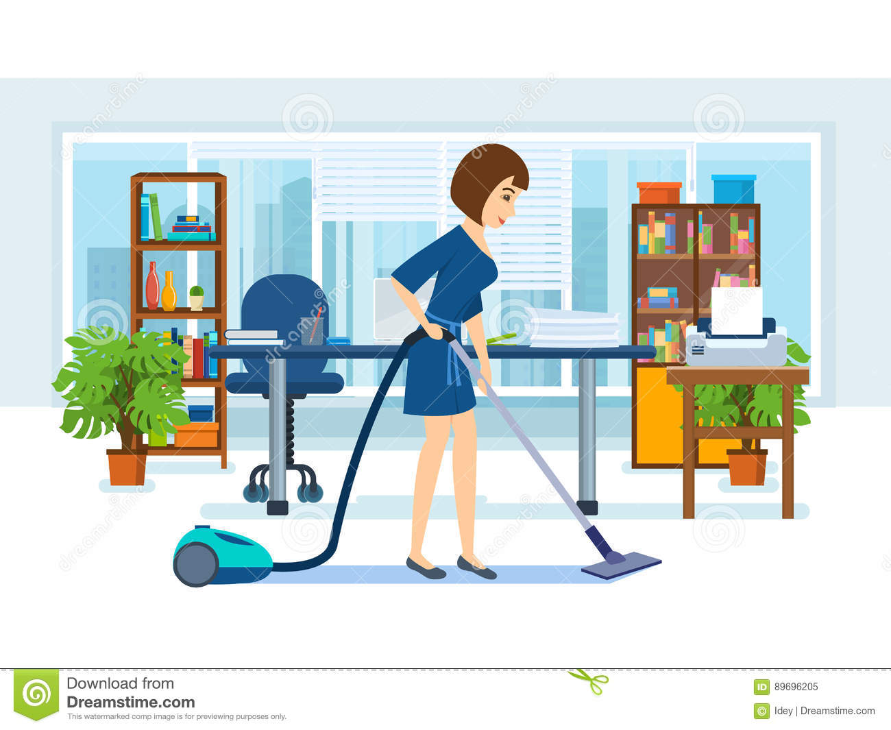 Girl, Employees Of The Office, Clean The Cabinet. Stock Vector.