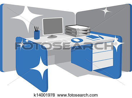 Clip Art of Clean office desk / workstation k14001978.