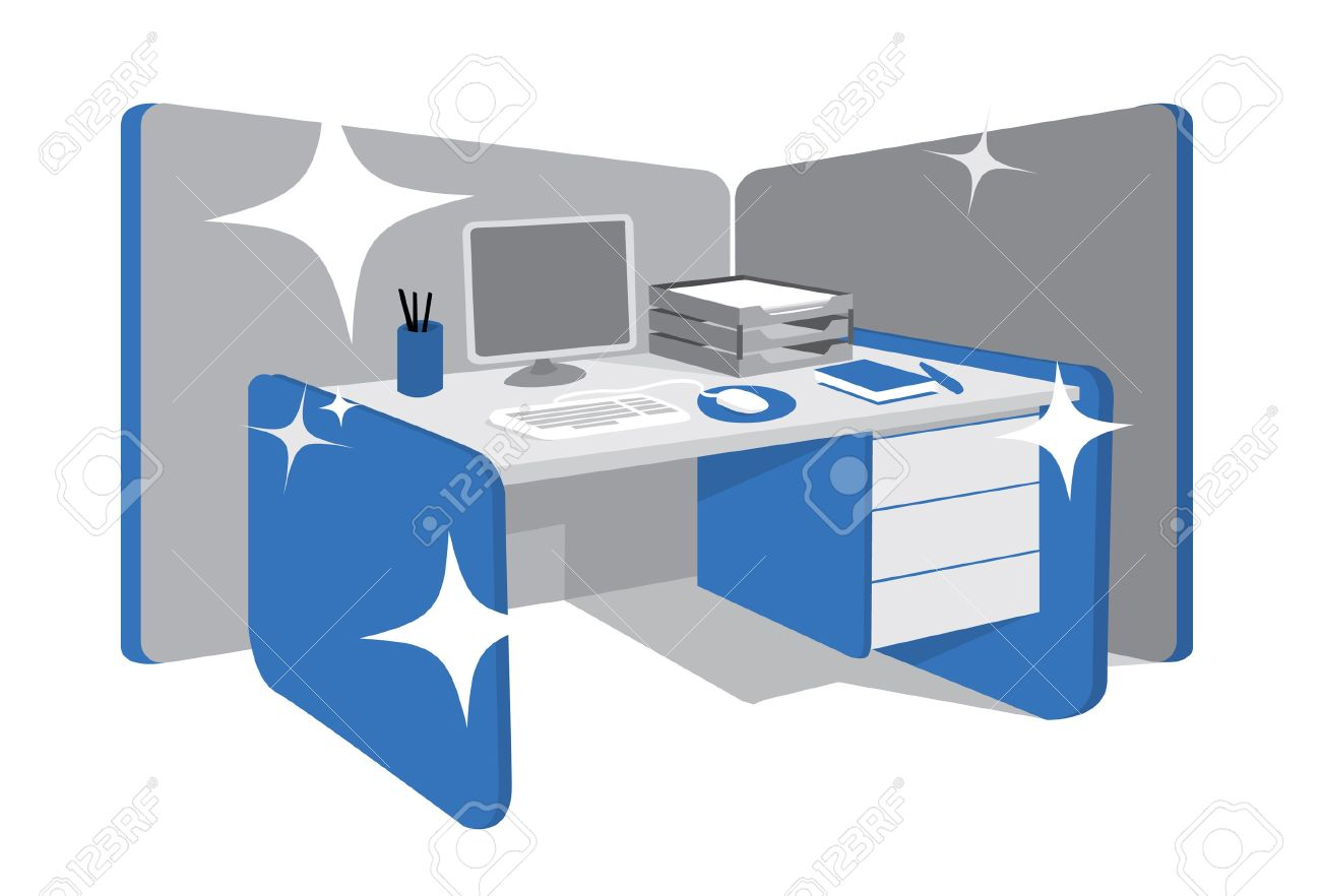 Clean Office Desk / Workstation Royalty Free Cliparts, Vectors.