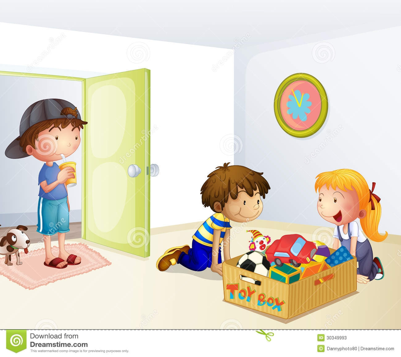 Clip Art Kids Cleaning Room Clipart Clean Up Toys Girl Clipart.