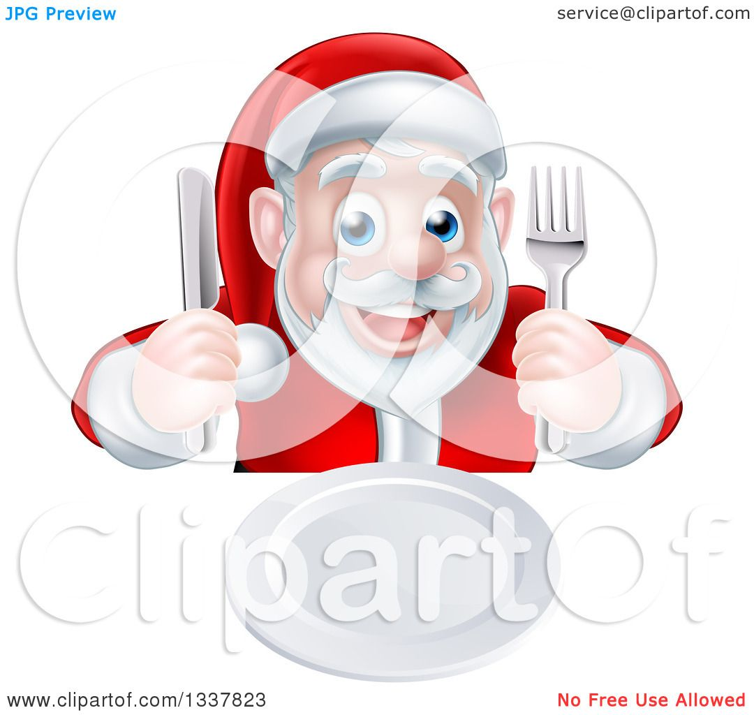 Clipart of a Happy Hungry Christmas Santa Claus Sitting with a.