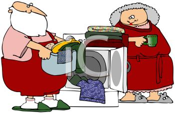 Picture of Santa Clause Loading Clean Clothes Into a Laundry.